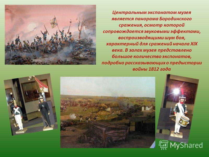 Центральным экспонатом музея является панорама Бородинского сражения, осмотр которой сопровождается звуковыми эффектами, воспроизводящими шум боя, характерный для сражений начала XIX века. В залах музея представлено большое количество экспонатов, под