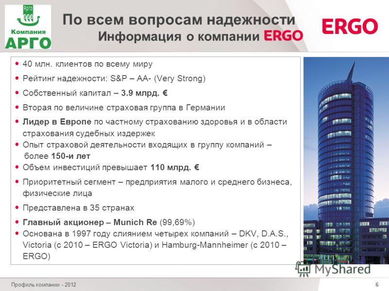 6 Профиль компании - 2012 По всем вопросам надежности Информация о компании 40 млн. клиентов по всему миру Рейтинг надежности: S&P – AA- (Very Strong) Собственный капитал – 3.9 млрд. Вторая по величине страховая группа в Германии Лидер в Европе по ча