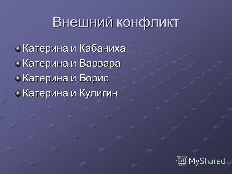 Внешний конфликт Катерина и Кабаниха Катерина и Варвара Катерина и Борис Катерина и Кулигин