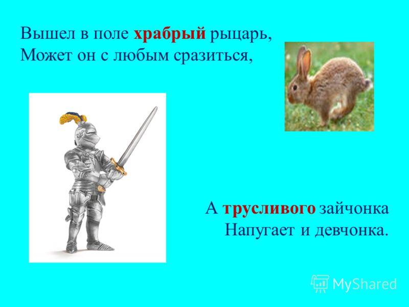 Вышел в поле храбрый рыцарь, Может он с любым сразиться, А трусливого зайчонка Напугает и девчонка.