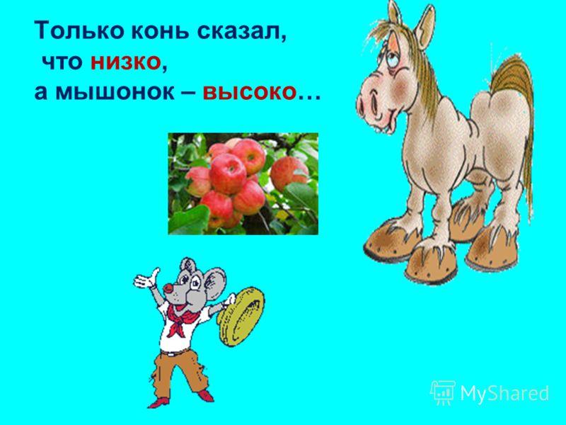 Только конь сказал, что низко, а мышонок – высоко…