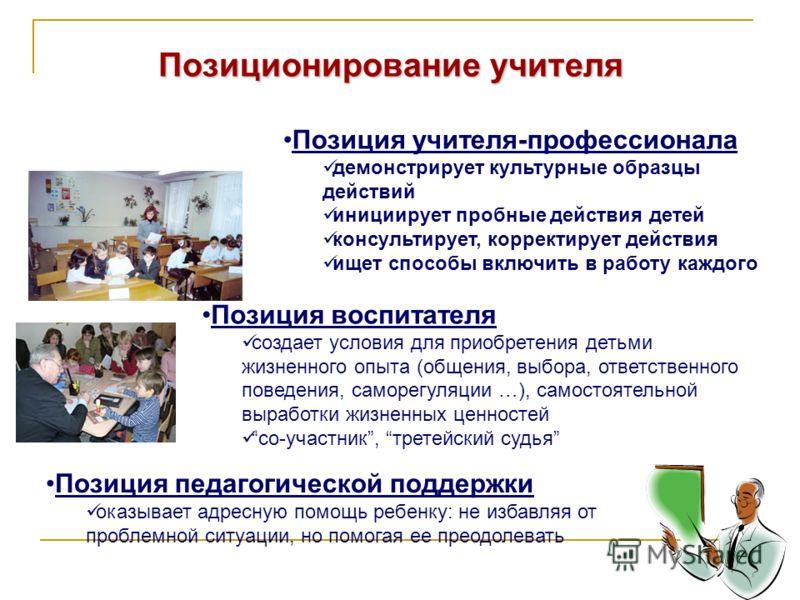 Позиционирование учителя Позиция учителя-профессионала демонстрирует культурные образцы действий инициирует пробные действия детей консультирует, корректирует действия ищет способы включить в работу каждого Позиция воспитателя создает условия для при