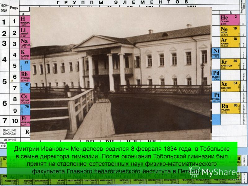 Дмитрий Иванович Менделеев родился 8 февраля 1834 года, в Тобольскe в семье директора гимназии. После окончания Тобольской гимназии был принят на отделение естественных наук физико-математического факультета Главного педагогического института в Петер