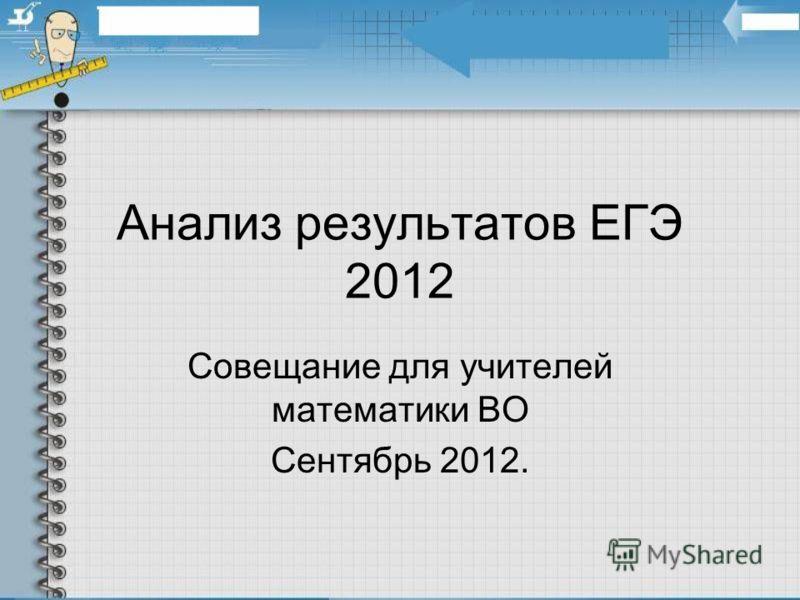 Анализ результатов ЕГЭ 2012 Совещание для учителей математики ВО Сентябрь 2012.