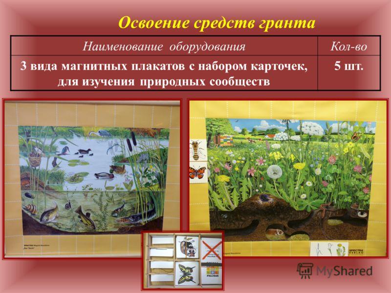 Наименование оборудованияКол-во 3 вида магнитных плакатов с набором карточек, для изучения природных сообществ 5 шт. Освоение средств гранта