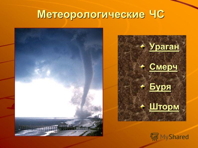 Метеорологические ЧС Ураган СССС мммм ееее рррр ччччБуря Шторм