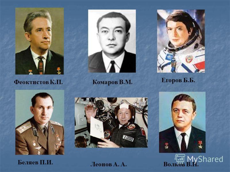 Егоров Б.Б. Комаров В.М.Феоктистов К.П. Беляев П.И. Леонов A. А.Волков В.Н.