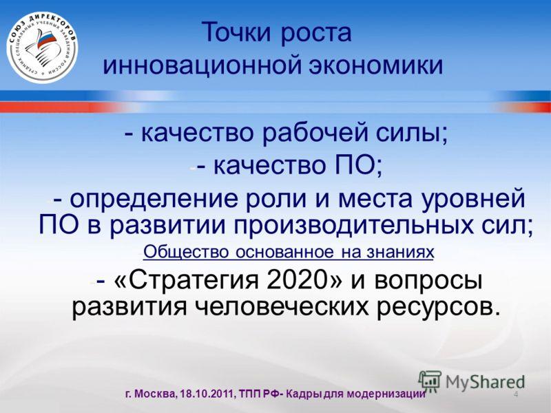 - качество рабочей силы; - - качество ПО; - - определение роли и места уровней ПО в развитии производительных сил; - Общество основанное на знаниях - - «Стратегия 2020» и вопросы развития человеческих ресурсов. Точки роста инновационной экономики 4 г