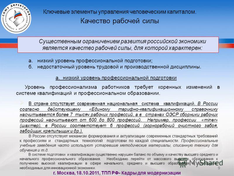 9 Существенным ограничением развития российской экономики является качество рабочей силы, для которой характерен: Ключевые элементы управления человеческим капиталом. Качество рабочей силы а. низкий уровень профессиональной подготовки; б. недостаточн