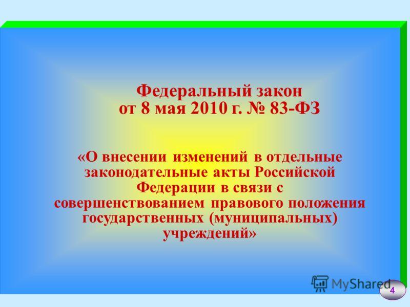 4 Федеральный закон от 8 мая 2010 г. 83-ФЗ «О внесении изменений в отдельные законодательные акты Российской Федерации в связи с совершенствованием правового положения государственных (муниципальных) учреждений»