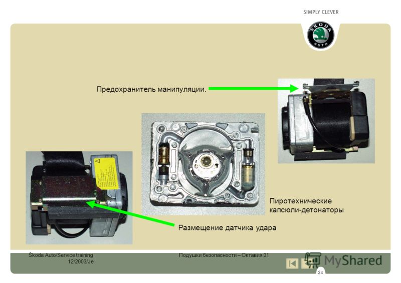 24 Škoda Auto/Service training Подушки безопасности – Октавия 01 12/2003/Je Предохранитель манипуляции. Размещение датчика удара Пиротехнические капсюли-детонаторы