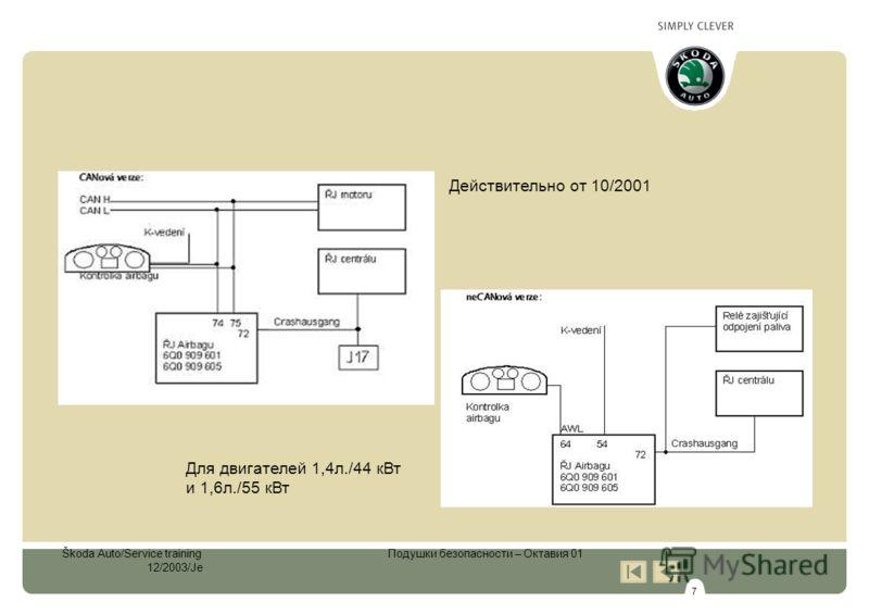 7 Škoda Auto/Service training Подушки безопасности – Октавия 01 12/2003/Je Для двигателей 1,4л./44 кВт и 1,6л./55 кВт Действительно от 10/2001