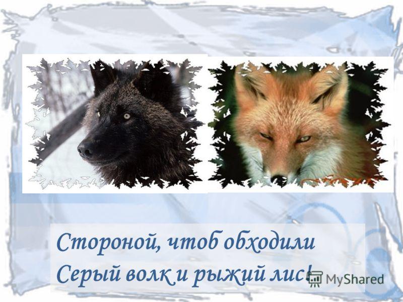 Стороной, чтоб обходили Серый волк и рыжий лис!