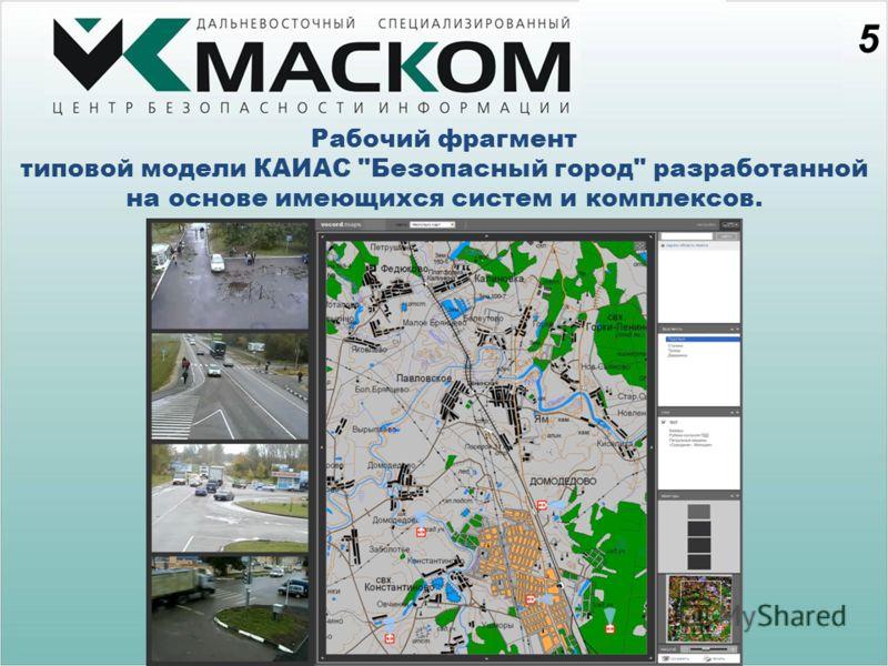 5 Рабочий фрагмент типовой модели КАИАС Безопасный город разработанной на основе имеющихся систем и комплексов.