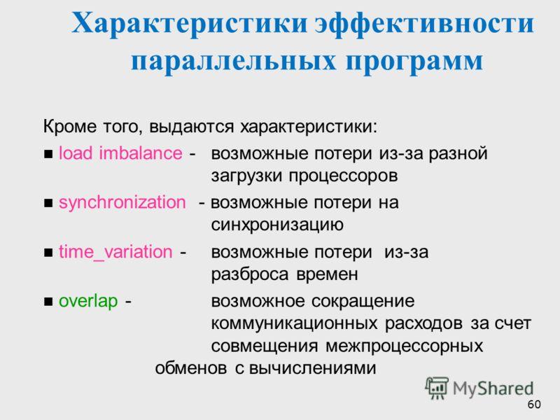 60 Характеристики эффективности параллельных программ Кроме того, выдаются характеристики: load imbalance - возможные потери из-за разной загрузки процессоров synchronization - возможные потери на синхронизацию time_variation - возможные потери из-за