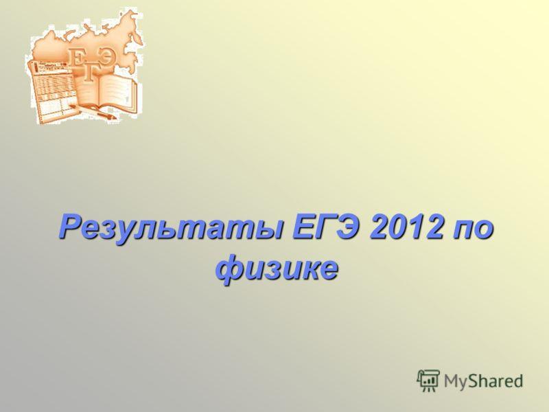 Результаты ЕГЭ 2012 по физике