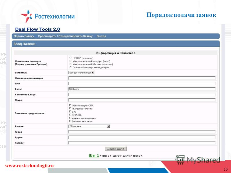 10 Порядок подачи заявок www.rostechnologii.ru