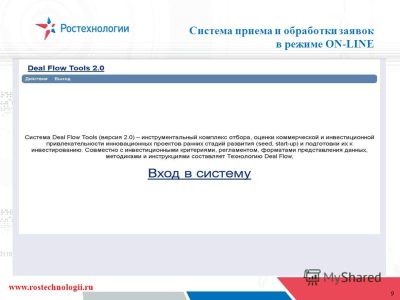9 Система приема и обработки заявок в режиме ON-LINE www.rostechnologii.ru