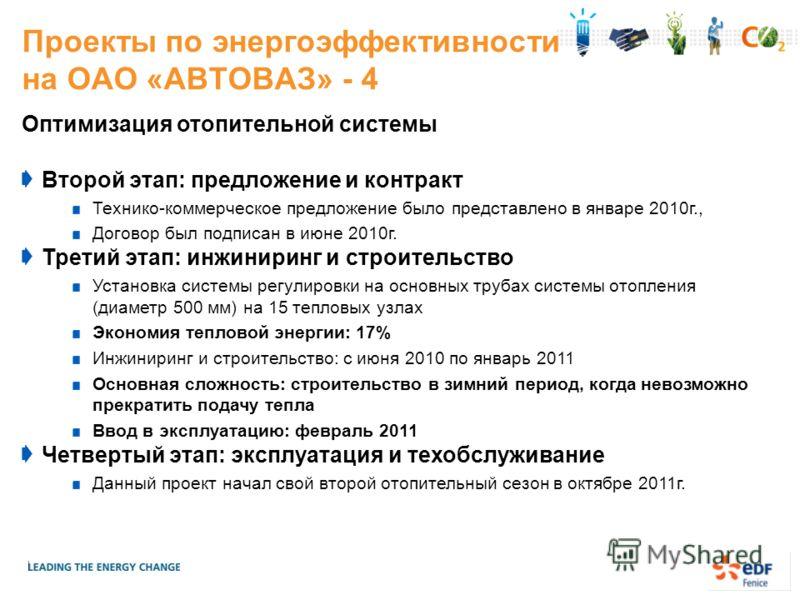 Проекты по энергоэффективности на ОАО «АВТОВАЗ» - 4 Оптимизация отопительной системы Второй этап: предложение и контракт Технико-коммерческое предложение было представлено в январе 2010г., Договор был подписан в июне 2010г. Третий этап: инжиниринг и