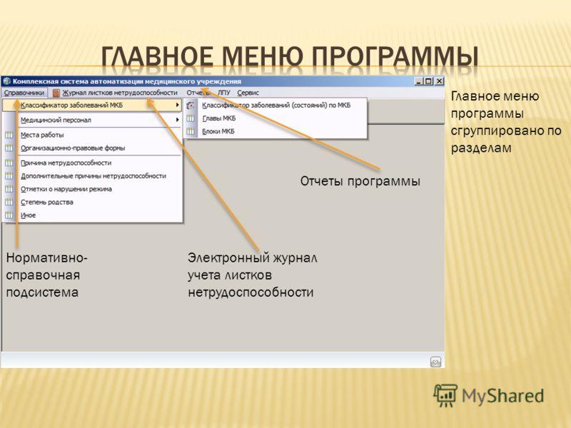 Главное меню программы сгруппировано по разделам Нормативно- справочная подсистема Электронный журнал учета листков нетрудоспособности Отчеты программы
