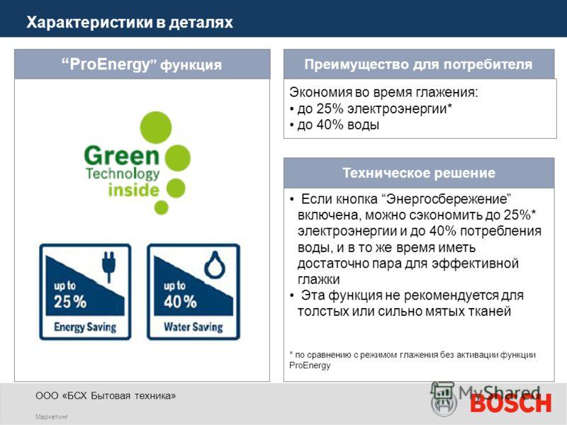 ООО «БСХ Бытовая техника» Маркетинг ProEnergy функция Если кнопка Энергосбережение включена, можно сэкономить до 25%* электроэнергии и до 40% потребления воды, и в то же время иметь достаточно пара для эффективной глажки Эта функция не рекомендуется