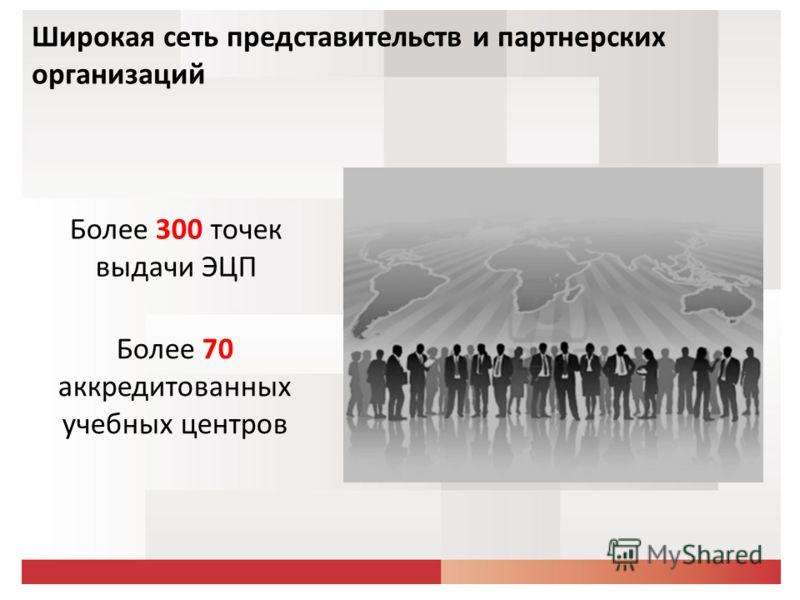 Более 300 точек выдачи ЭЦП Более 70 аккредитованных учебных центров Широкая сеть представительств и партнерских организаций