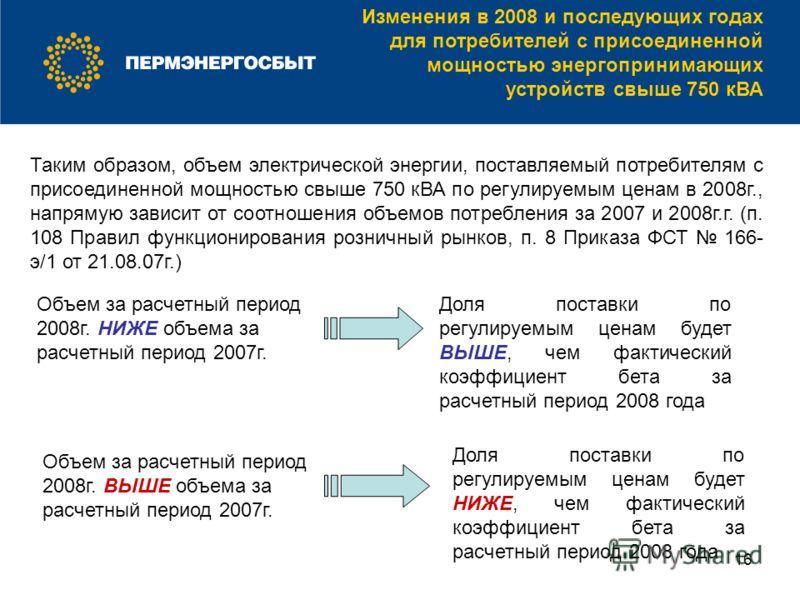 16 Изменения в 2008 и последующих годах для потребителей с присоединенной мощностью энергопринимающих устройств свыше 750 кВА Таким образом, объем электрической энергии, поставляемый потребителям с присоединенной мощностью свыше 750 кВА по регулируем