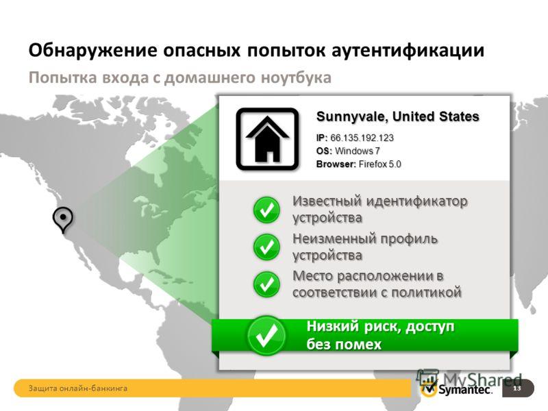 Обнаружение опасных попыток аутентификации 13 Попытка входа с домашнего ноутбука Sunnyvale, United States IP: 66.135.192.123 OS: Windows 7 Browser: Firefox 5.0 Известный идентификатор устройства Место расположении в соответствии с политикой Неизменны