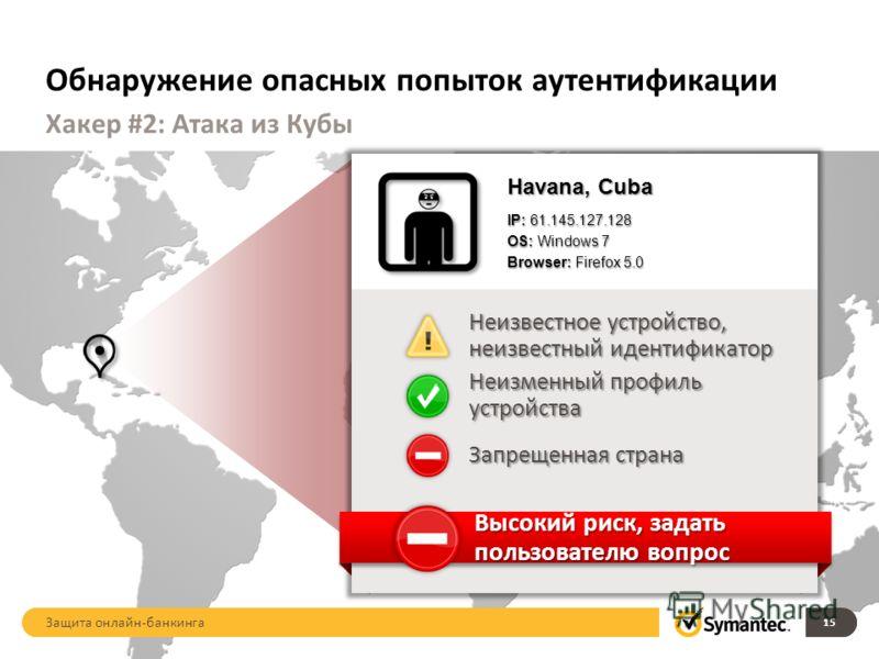Обнаружение опасных попыток аутентификации 15 Хакер #2: Атака из Кубы Havana, Cuba IP: 61.145.127.128 OS: Windows 7 Browser: Firefox 5.0 Неизвестное устройство, неизвестный идентификатор Запрещенная страна Неизменный профиль устройства Высокий риск,