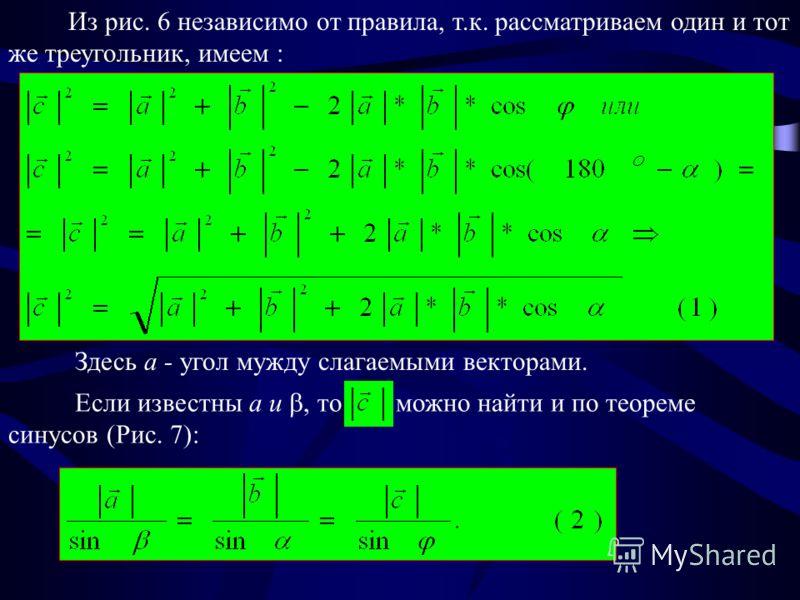 Из рис. 6 независимо от правила, т.к. рассматриваем один и тот же треугольник, имеем : Здесь a - угол мужду слагаемыми векторами. Если известны a и, то можно найти и по теореме синусов (Рис. 7):
