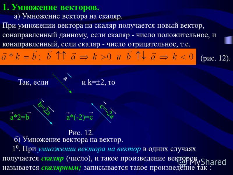 1. Умножение векторов. а) Умножение вектора на скаляр. При умножении вектора на скаляр получается новый вектор, сонаправленный данному, если скаляр - число положительное, и конаправленный, если скаляр - число отрицательное, т.е. (рис. 12). a Рис. 12.