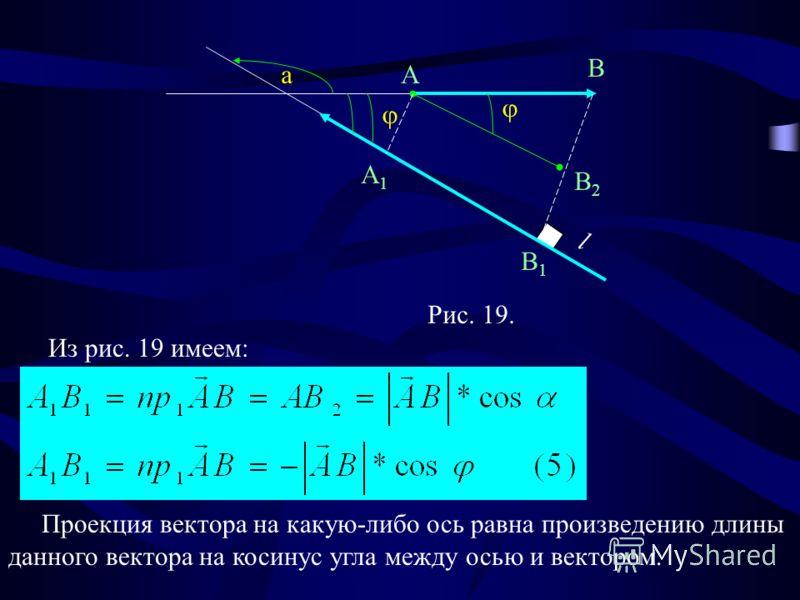 Рис. 19. a l A B A1A1 B1B1 B2B2 Из рис. 19 имеем: Проекция вектора на какую-либо ось равна произведению длины данного вектора на косинус угла между осью и вектором.