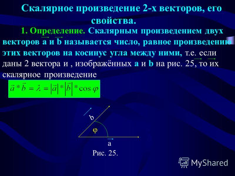 Скалярное произведение 2-х векторов, его свойства. 1. Определение. Скалярным произведением двух векторов a и b называется число, равное произведению этих векторов на косинус угла между ними, т.е. если даны 2 вектора и, изображённых a и b на рис. 25,