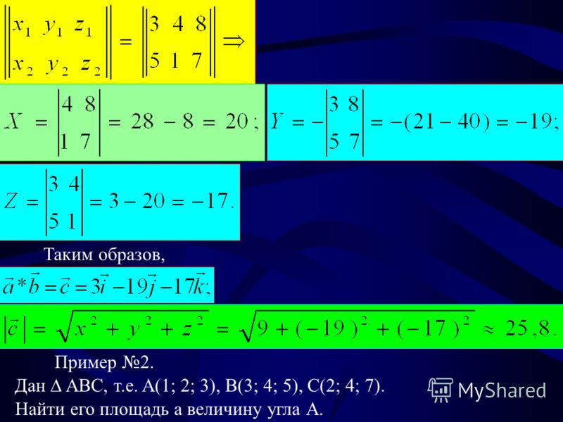 Таким образов, Пример 2. Дан ABC, т.е. A(1; 2; 3), B(3; 4; 5), C(2; 4; 7). Найти его площадь а величину угла А.