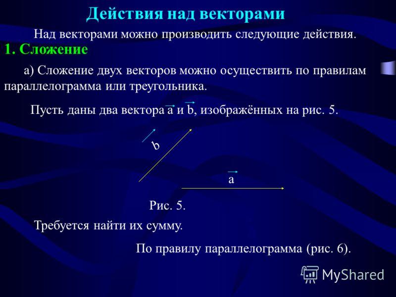 Действия над векторами 1. Сложение Над векторами можно производить следующие действия. Требуется найти их сумму. а) Сложение двух векторов можно осуществить по правилам параллелограмма или треугольника. Пусть даны два вектора a и b, изображённых на р