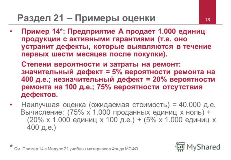 13 Раздел 21 – Примеры оценки Пример 14*: Предприятие A продает 1.000 единиц продукции с активными гарантиями (т.е. оно устранит дефекты, которые выявляются в течение первых шести месяцев после покупки). Степени вероятности и затраты на ремонт: значи