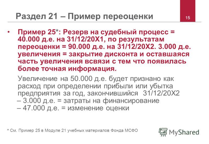 15 Раздел 21 – Пример переоценки Пример 25*: Резерв на судебный процесс = 40.000 д.е. на 31/12/20X1, по результатам переоценки = 90.000 д.е. на 31/12/20X2. 3.000 д.е. увеличения = закрытие дисконта и оставшаяся часть увеличения всвязи с тем что появи