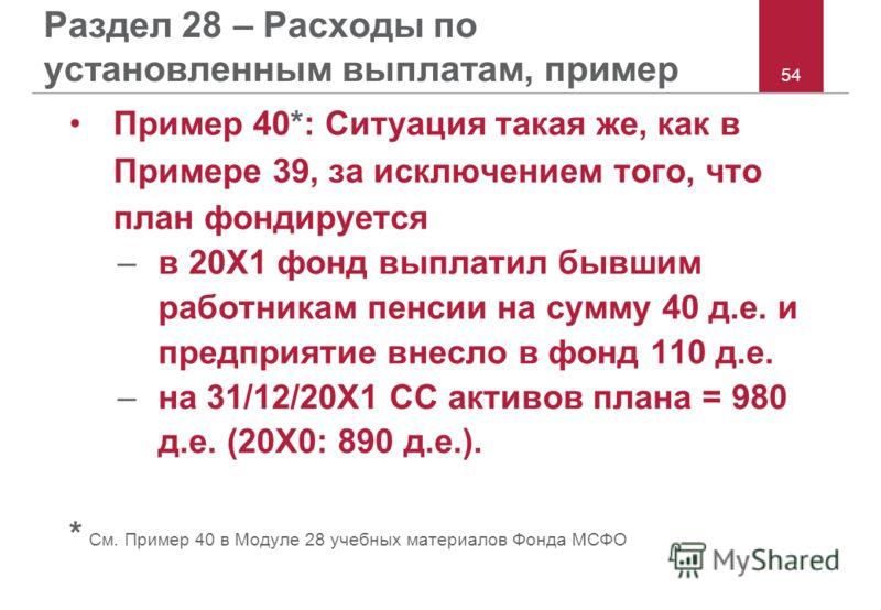 54 Раздел 28 – Расходы по установленным выплатам, пример Пример 40*: Ситуация такая же, как в Примере 39, за исключением того, что план фондируется –в 20X1 фонд выплатил бывшим работникам пенсии на сумму 40 д.е. и предприятие внесло в фонд 110 д.е. –