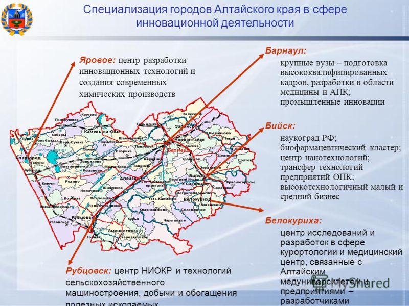 Барнаул: крупные вузы – подготовка высококвалифицированных кадров, разработки в области медицины и АПК; промышленные инновации Бийск: наукоград РФ; биофармацевтический кластер; центр нанотехнологий; трансфер технологий предприятий ОПК; высокотехнолог