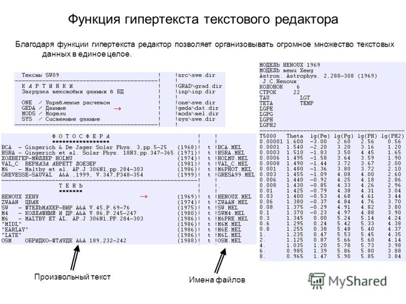 Функция гипертекста текстового редактора Благодаря функции гипертекста редактор позволяет организовывать огромное множество текстовых данных в единое целое. Произвольный текст Имена файлов