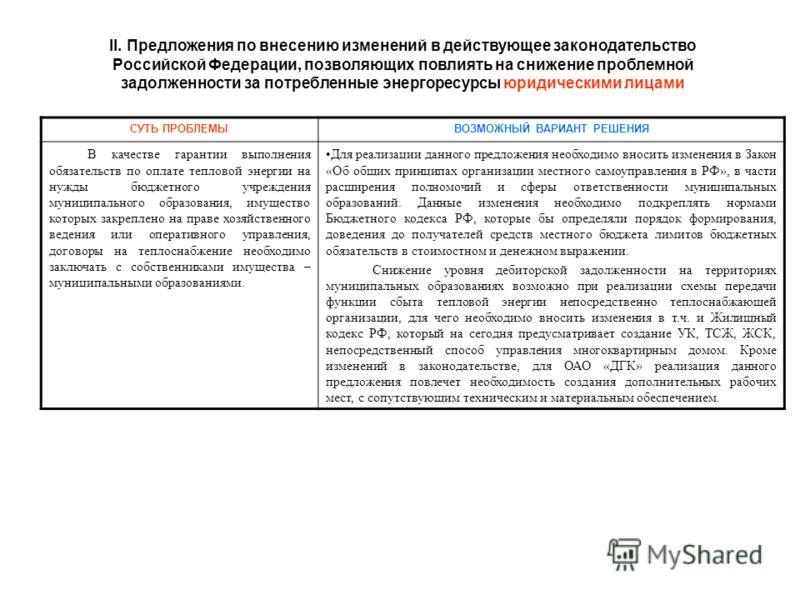 II. Предложения по внесению изменений в действующее законодательство Российской Федерации, позволяющих повлиять на снижение проблемной задолженности за потребленные энергоресурсы юридическими лицами СУТЬ ПРОБЛЕМЫВОЗМОЖНЫЙ ВАРИАНТ РЕШЕНИЯ В качестве г