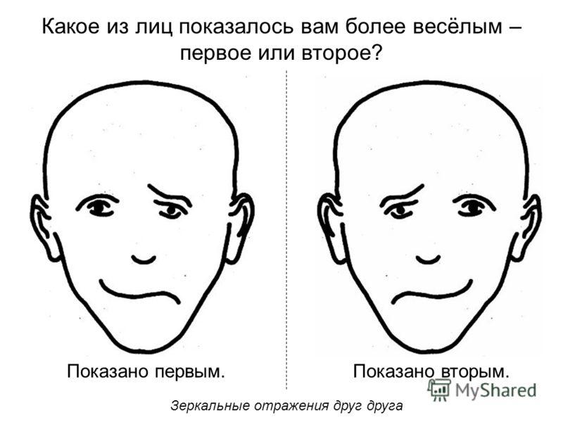 Какое из лиц показалось вам более весёлым – первое или второе? Показано первым.Показано вторым. Зеркальные отражения друг друга