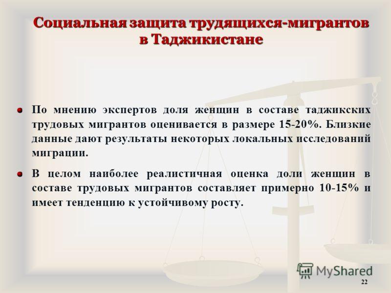 Социальная защита трудящихся-мигрантов в Таджикистане По мнению экспертов доля женщин в составе таджикских трудовых мигрантов оценивается в размере 15-20%. Близкие данные дают результаты некоторых локальных исследований миграции. В целом наиболее реа