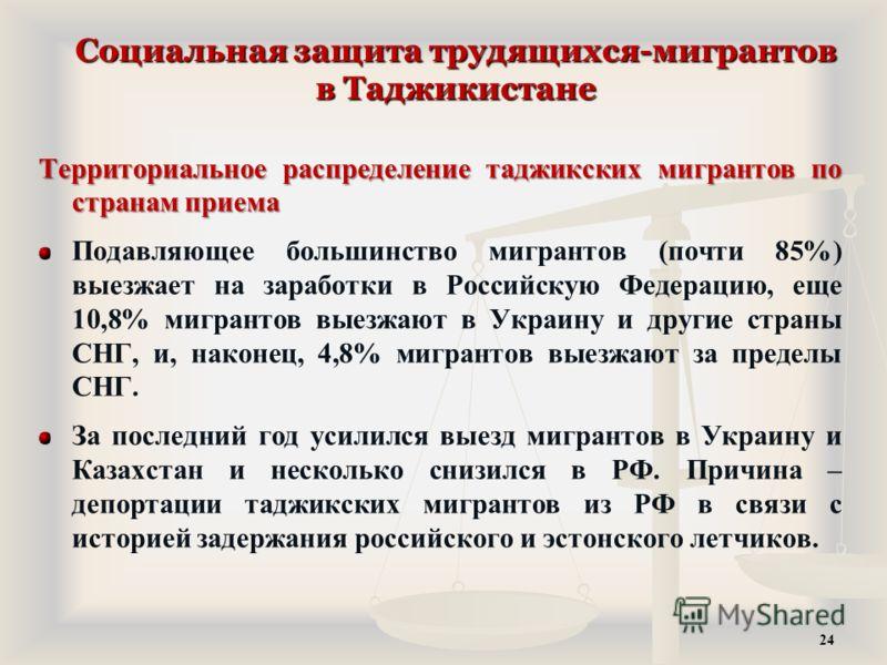Социальная защита трудящихся-мигрантов в Таджикистане Территориальное распределение таджикских мигрантов по странам приема Подавляющее большинство мигрантов (почти 85%) выезжает на заработки в Российскую Федерацию, еще 10,8% мигрантов выезжают в Укра