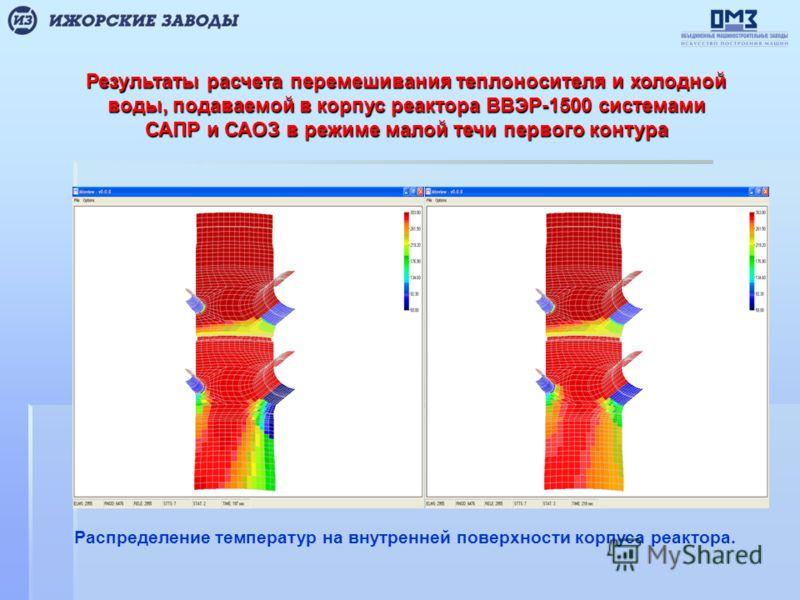 Результаты расчета перемешивания теплоносителя и холодной воды, подаваемой в корпус реактора ВВЭР-1500 системами САПР и САОЗ в режиме малой течи первого контура Распределение температур на внутренней поверхности корпуса реактора.