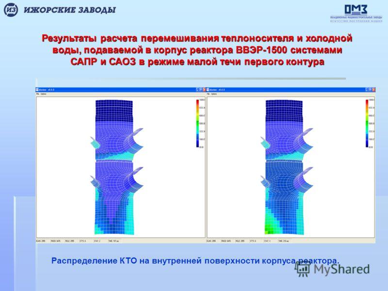 Результаты расчета перемешивания теплоносителя и холодной воды, подаваемой в корпус реактора ВВЭР-1500 системами САПР и САОЗ в режиме малой течи первого контура Распределение КТО на внутренней поверхности корпуса реактора.