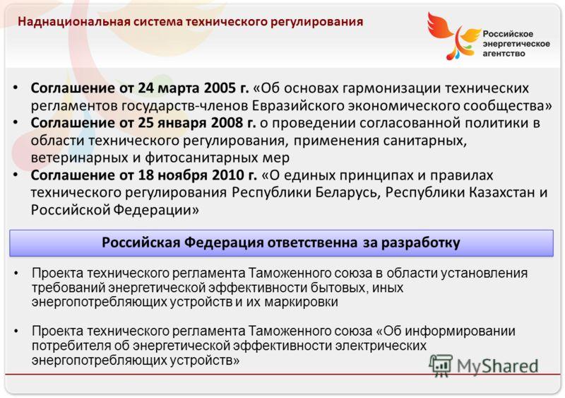 Российское энергетическое агентство Наднациональная система технического регулирования Соглашение от 24 марта 2005 г. «Об основах гармонизации технических регламентов государств-членов Евразийского экономического сообщества» Соглашение от 25 января 2
