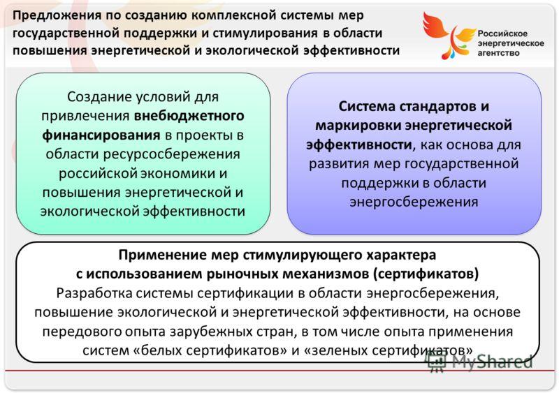 Российское энергетическое агентство Создание условий для привлечения внебюджетного финансирования в проекты в области ресурсосбережения российской экономики и повышения энергетической и экологической эффективности Система стандартов и маркировки энер
