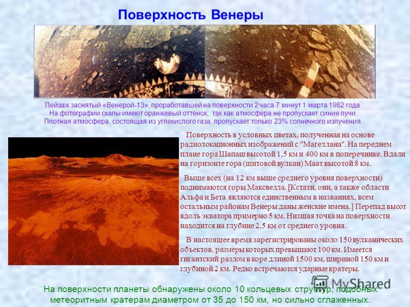 Поверхность Венеры Пейзаж заснятый «Венерой-13», проработавшей на поверхности 2 часа 7 минут 1 марта 1982 года. На фотографии скалы имеют оранжевый оттенок, так как атмосфера не пропускает синие лучи. Плотная атмосфера, состоящая из углекислого газа,
