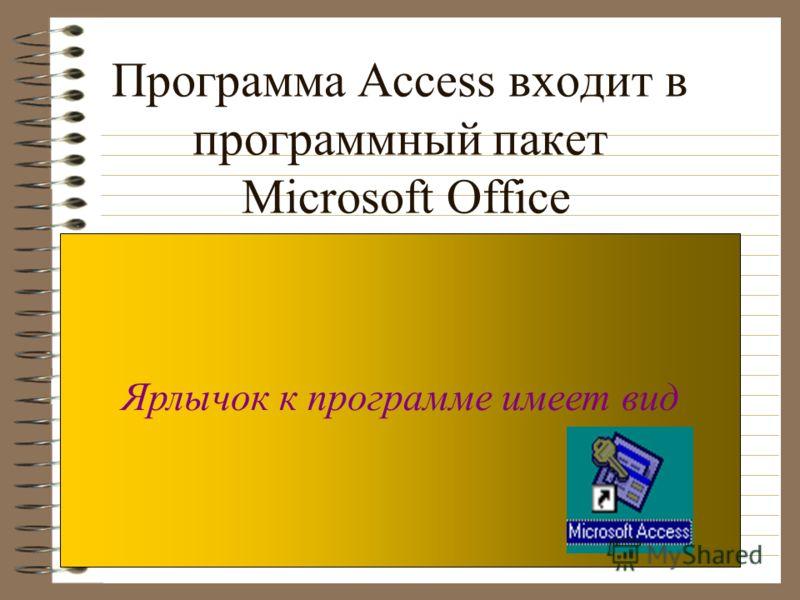 Программа Access входит в программный пакет Microsoft Office Ярлычок к программе имеет вид